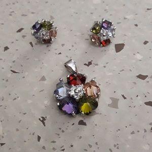 925 silver pendant and earrings set